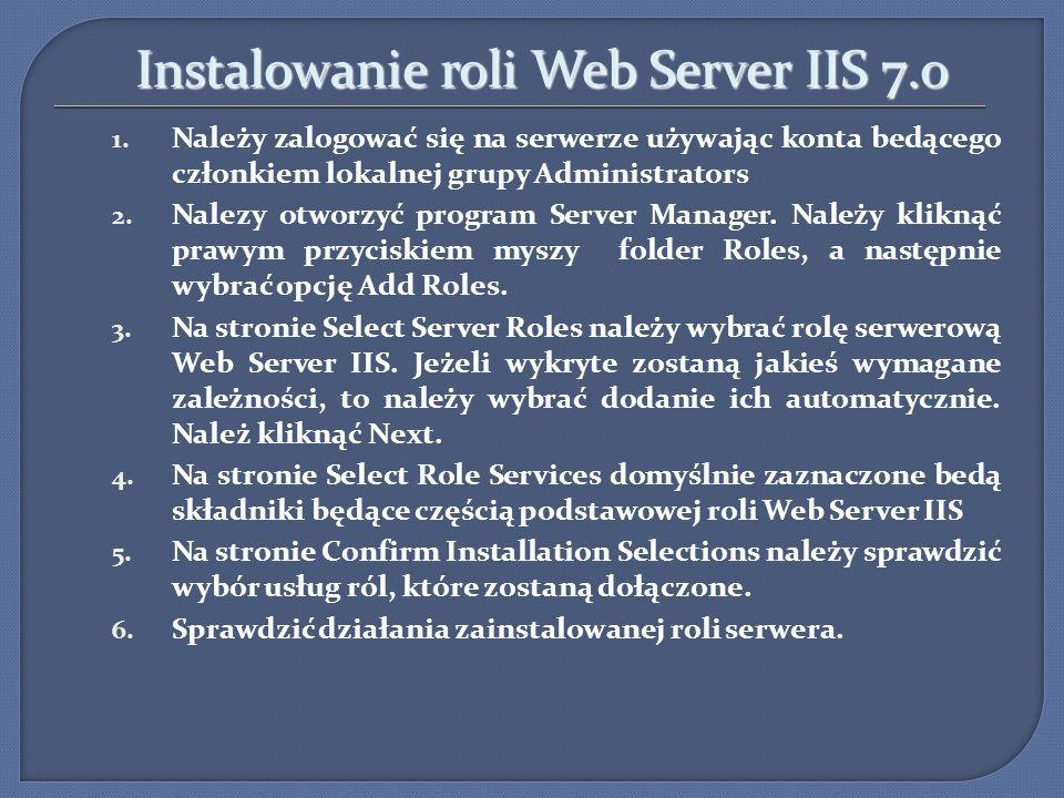 Instalowanie roli Web Server IIS 7.0