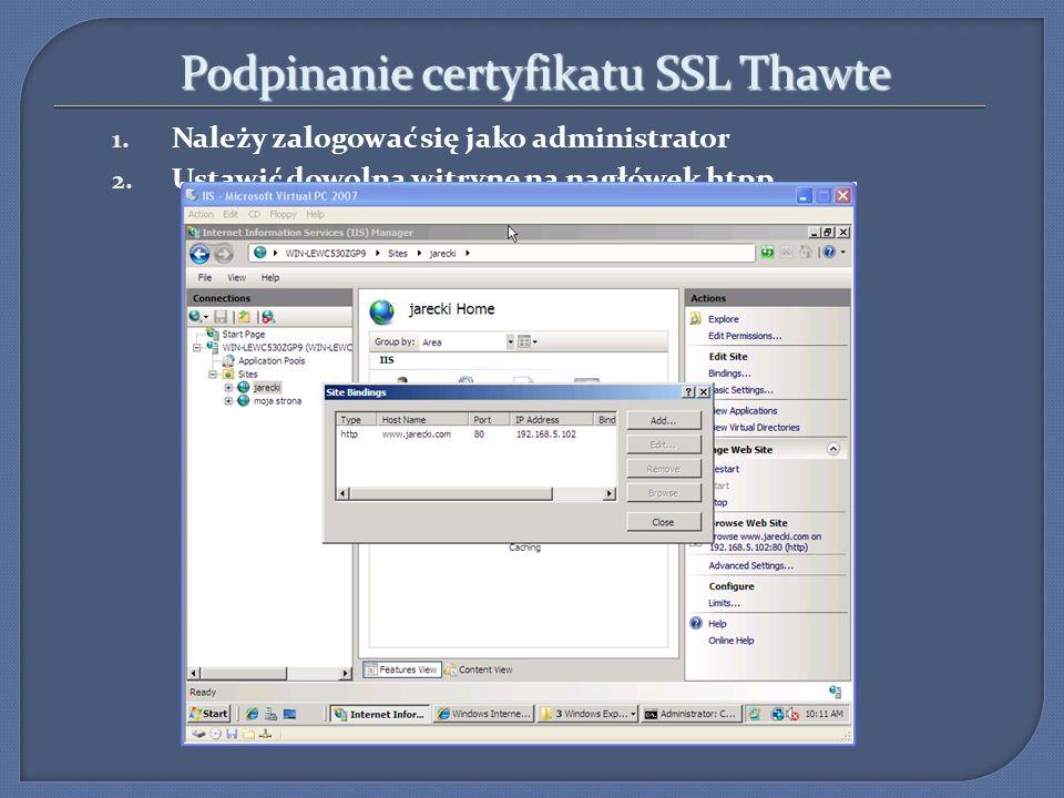 Podpinanie certyfikatu SSL Thawte