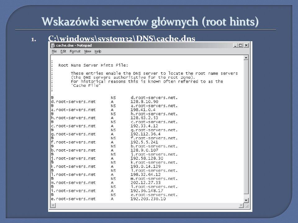 Wskazówki serwerów głównych (root hints)