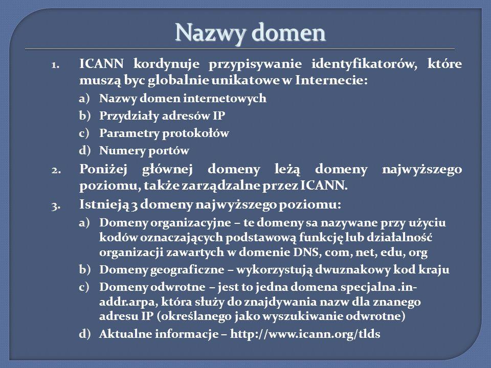 Nazwy domen ICANN kordynuje przypisywanie identyfikatorów, które muszą byc globalnie unikatowe w Internecie: