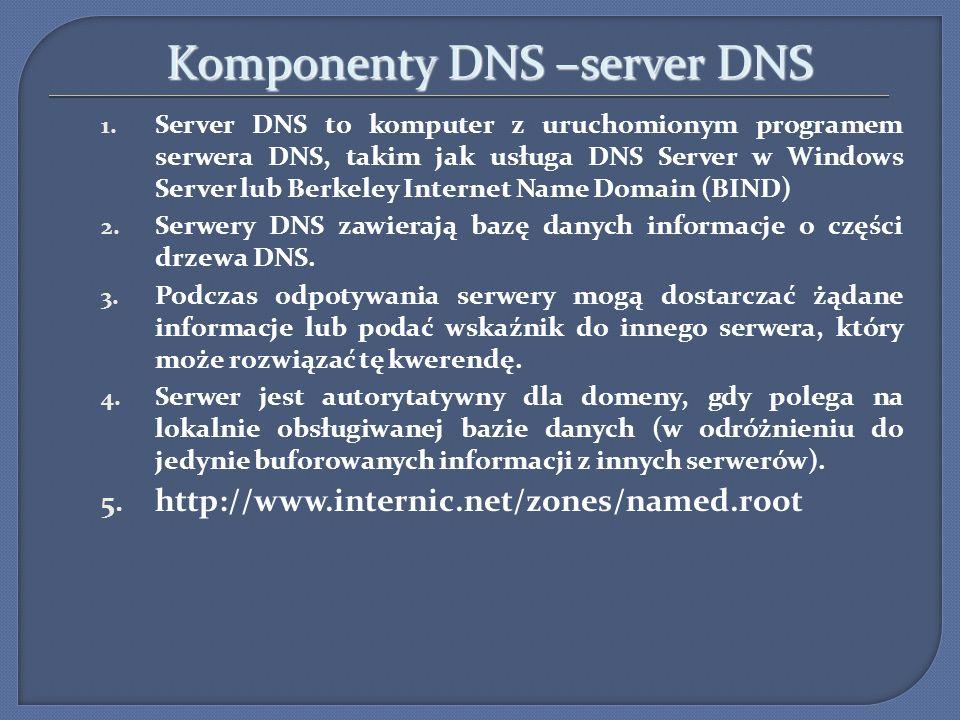 Komponenty DNS –server DNS