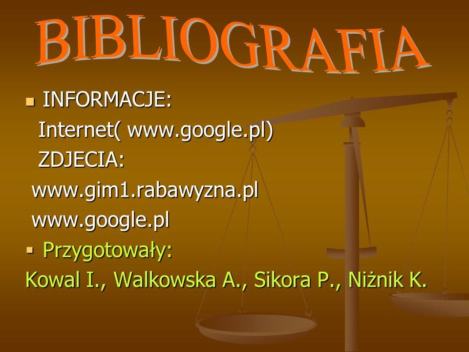 BIBLIOGRAFIA INFORMACJE: Internet( www.google.pl) ZDJECIA: