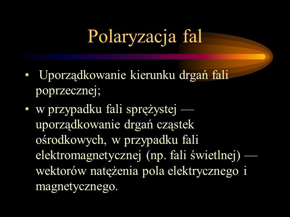 Polaryzacja fal Uporządkowanie kierunku drgań fali poprzecznej;