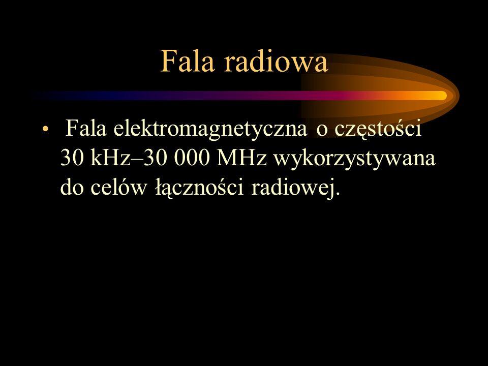 Fala radiowa Fala elektromagnetyczna o częstości 30 kHz–30 000 MHz wykorzystywana do celów łączności radiowej.