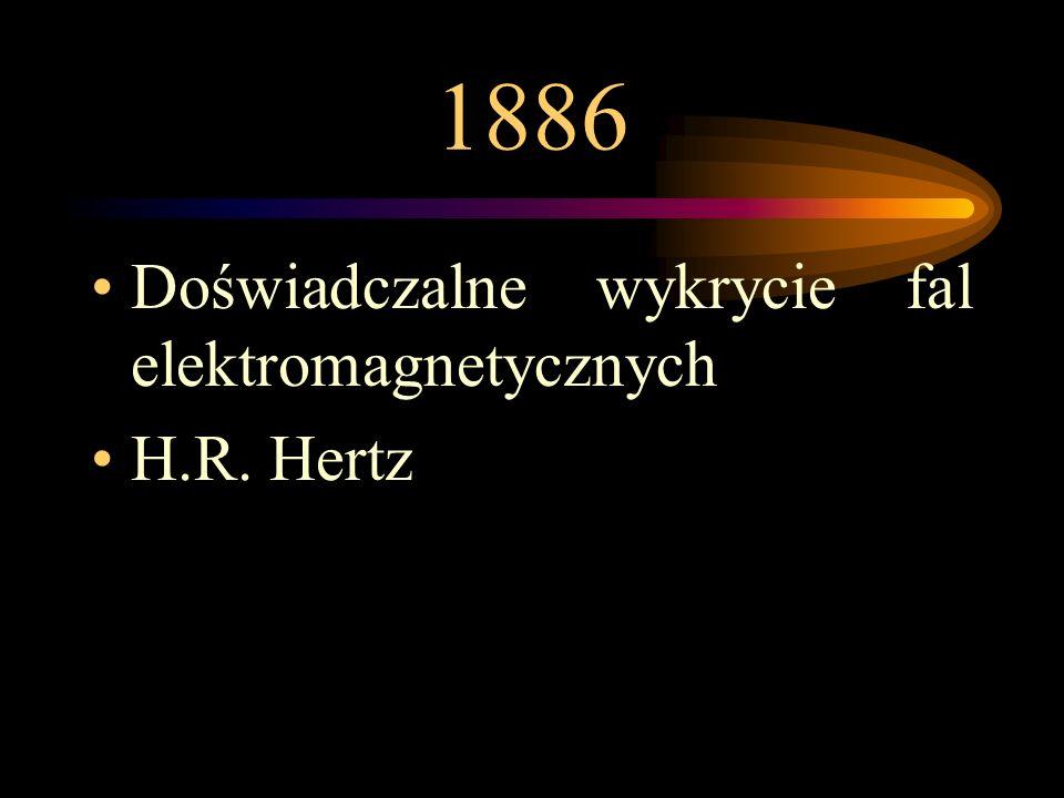 1886 Doświadczalne wykrycie fal elektromagnetycznych H.R. Hertz