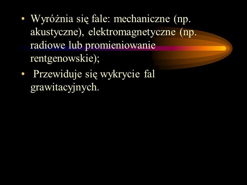Wyróżnia się fale: mechaniczne (np. akustyczne), elektromagnetyczne (np. radiowe lub promieniowanie rentgenowskie);