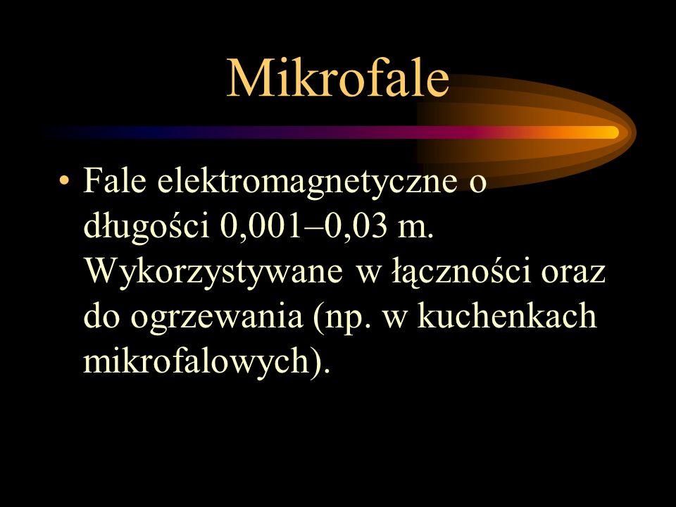 Mikrofale Fale elektromagnetyczne o długości 0,001–0,03 m.