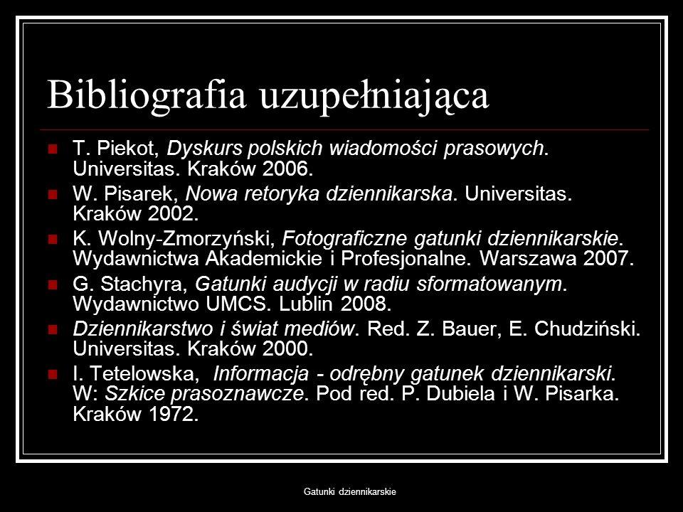 Bibliografia uzupełniająca
