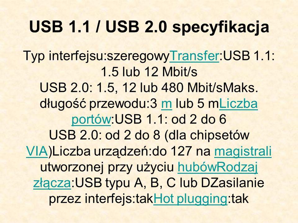 USB 1.1 / USB 2.0 specyfikacja