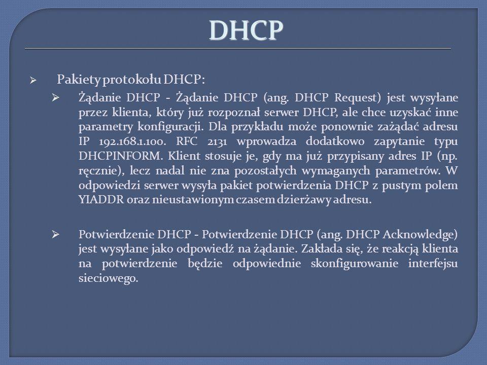DHCP Pakiety protokołu DHCP:
