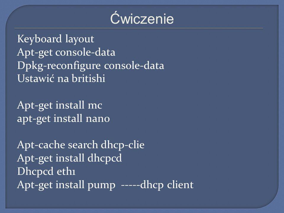 Ćwiczenie Keyboard layout Apt-get console-data