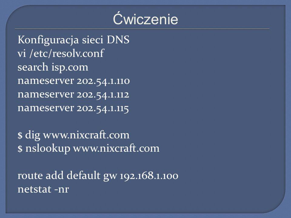 Ćwiczenie Konfiguracja sieci DNS vi /etc/resolv.conf search isp.com