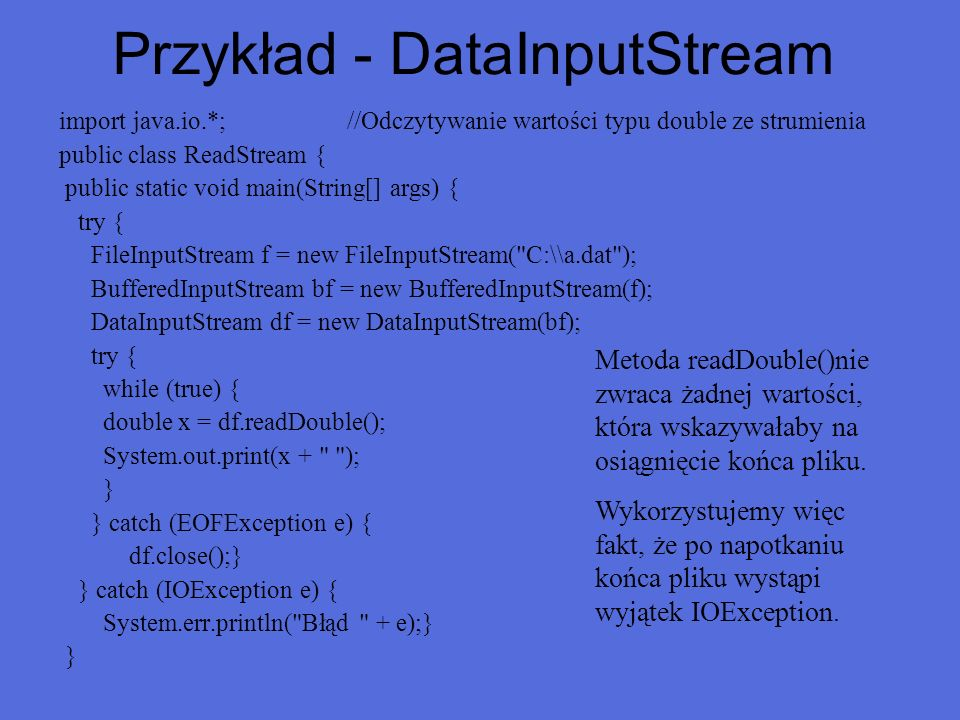Przykład - DataInputStream