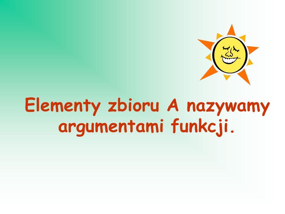 Elementy zbioru A nazywamy argumentami funkcji.
