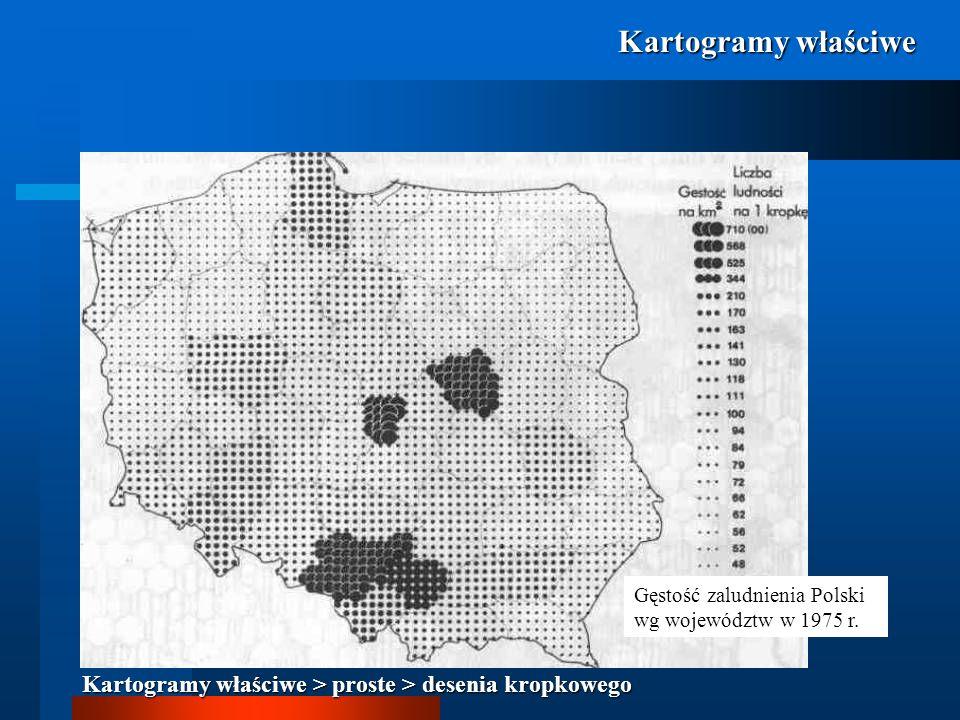 Kartogramy właściwe Gęstość zaludnienia Polski wg województw w 1975 r.