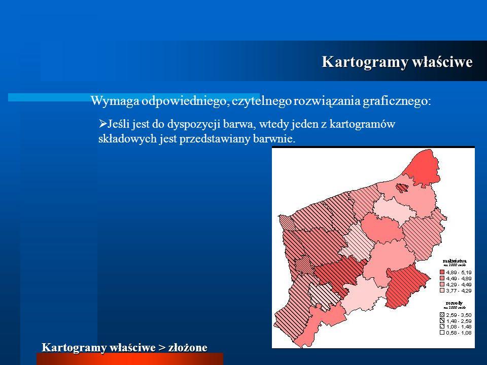 Kartogramy właściwe Wymaga odpowiedniego, czytelnego rozwiązania graficznego: