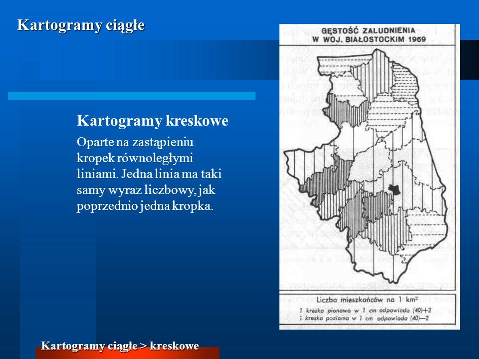 Kartogramy ciągłe Kartogramy kreskowe