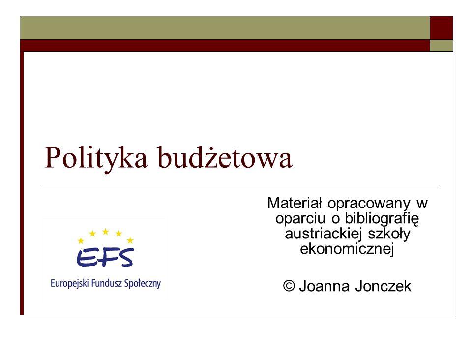 Polityka budżetowa Materiał opracowany w oparciu o bibliografię austriackiej szkoły ekonomicznej.