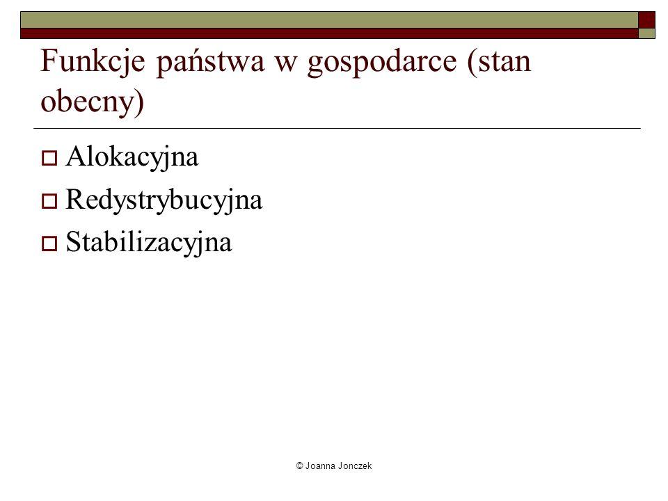Funkcje państwa w gospodarce (stan obecny)