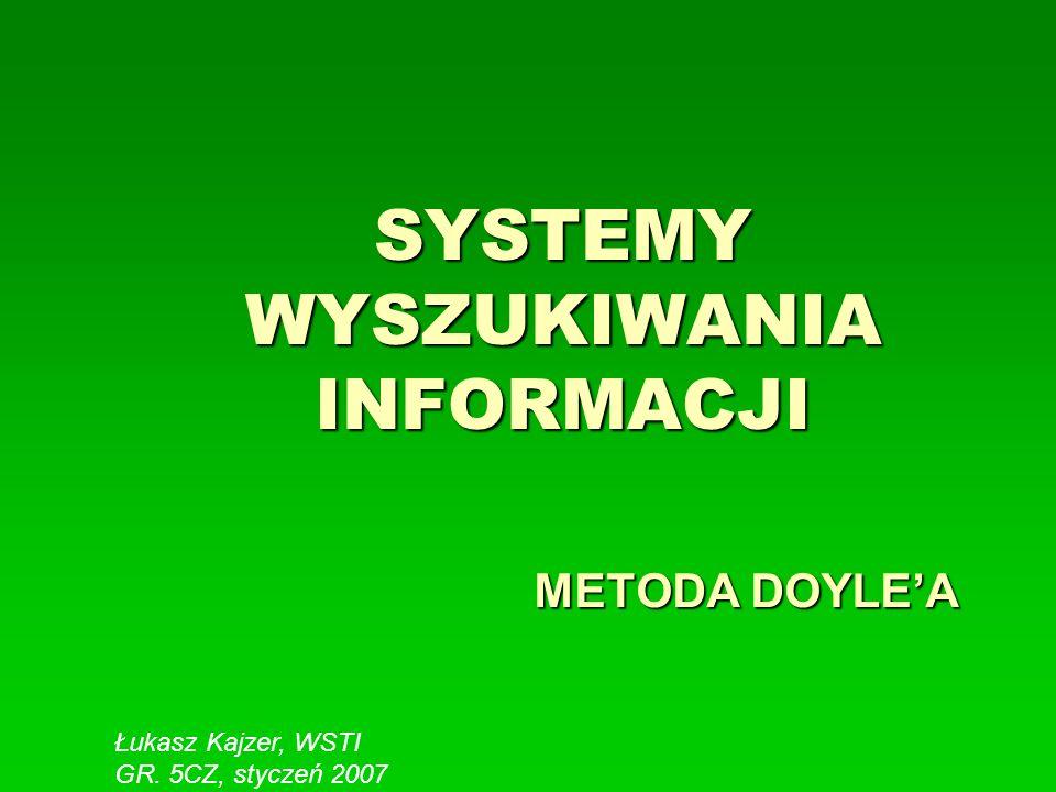 SYSTEMY WYSZUKIWANIA INFORMACJI