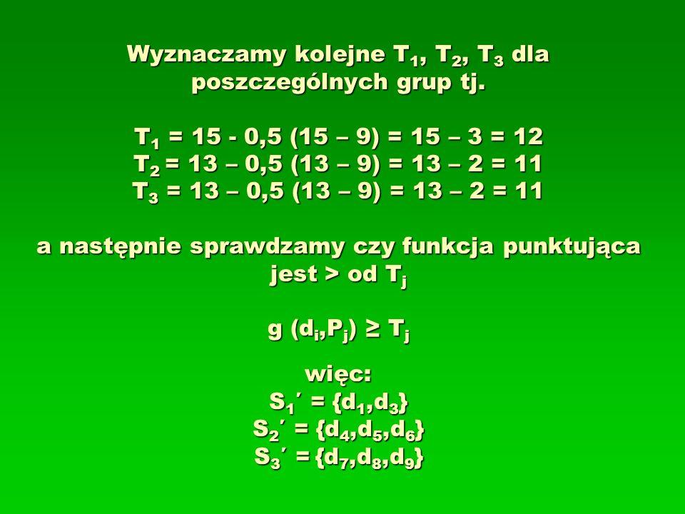 Wyznaczamy kolejne T1, T2, T3 dla poszczególnych grup tj