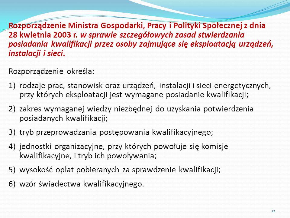 Rozporządzenie Ministra Gospodarki, Pracy i Polityki Społecznej z dnia 28 kwietnia 2003 r. w sprawie szczegółowych zasad stwierdzania posiadania kwalifikacji przez osoby zajmujące się eksploatacją urządzeń, instalacji i sieci.