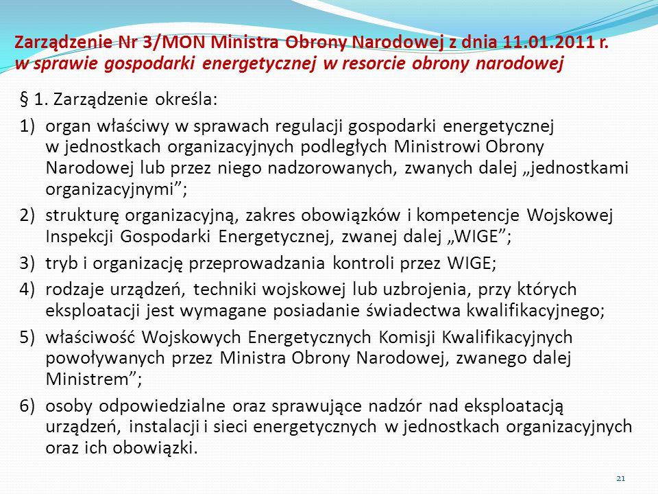 Zarządzenie Nr 3/MON Ministra Obrony Narodowej z dnia 11. 01. 2011 r
