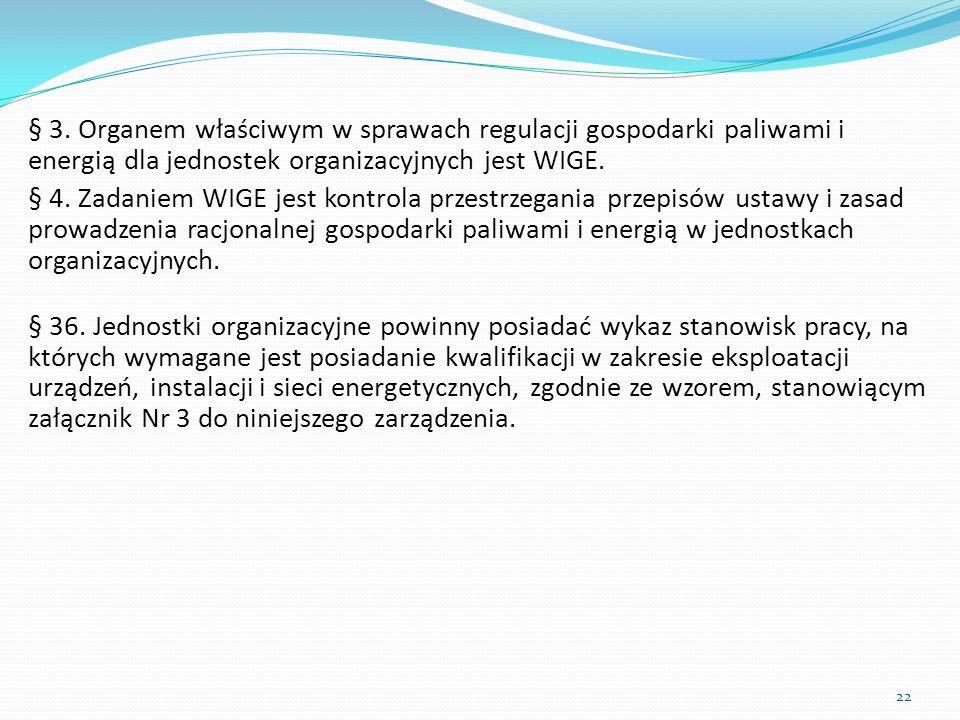 § 3. Organem właściwym w sprawach regulacji gospodarki paliwami i energią dla jednostek organizacyjnych jest WIGE.