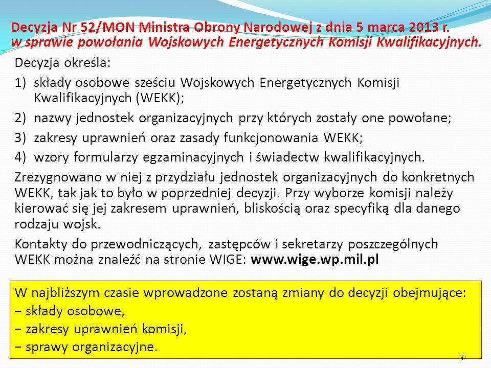 Decyzja Nr 52/MON Ministra Obrony Narodowej z dnia 5 marca 2013 r