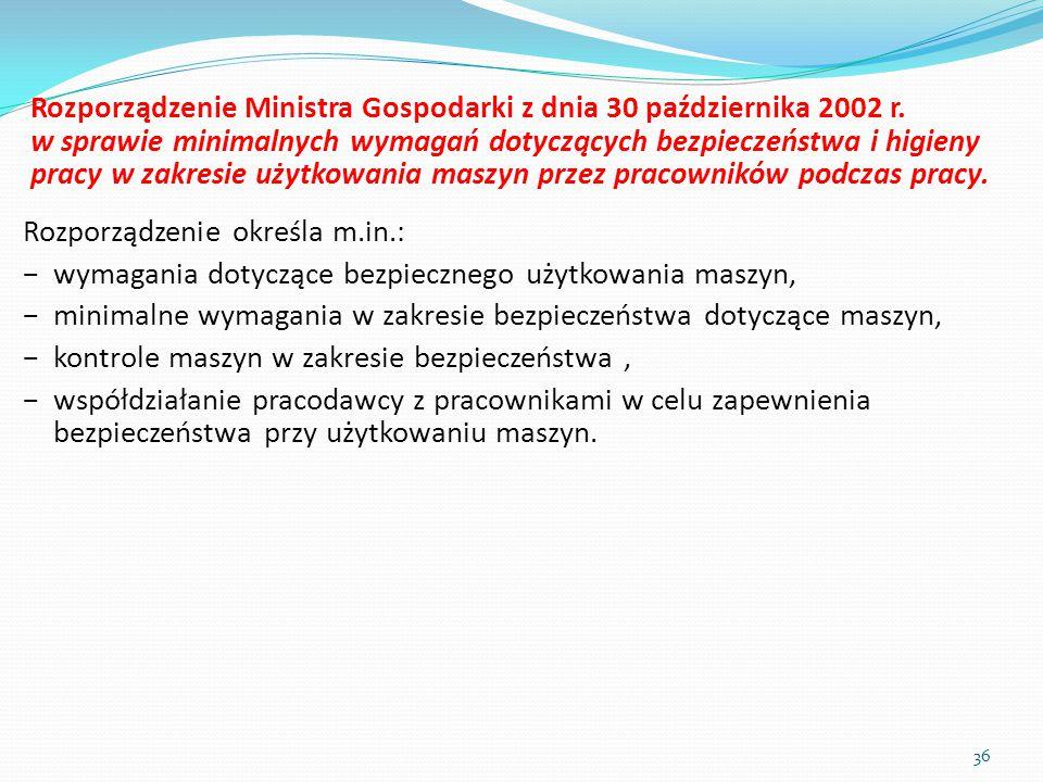 Rozporządzenie Ministra Gospodarki z dnia 30 października 2002 r