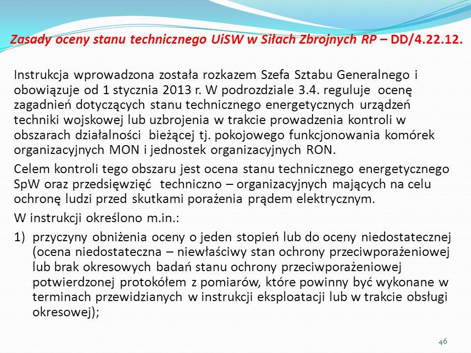 Zasady oceny stanu technicznego UiSW w Siłach Zbrojnych RP – DD/4. 22