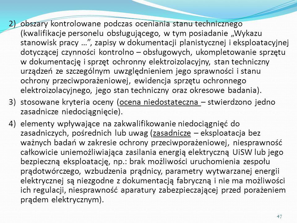 """obszary kontrolowane podczas oceniania stanu technicznego (kwalifikacje personelu obsługującego, w tym posiadanie """"Wykazu stanowisk pracy … , zapisy w dokumentacji planistycznej i eksploatacyjnej dotyczącej czynności kontrolno – obsługowych, ukompletowanie sprzętu w dokumentację i sprzęt ochronny elektroizolacyjny, stan techniczny urządzeń ze szczególnym uwzględnieniem jego sprawności i stanu ochrony przeciwporażeniowej, ewidencja sprzętu ochronnego elektroizolacyjnego, jego stan techniczny oraz okresowe badania)."""