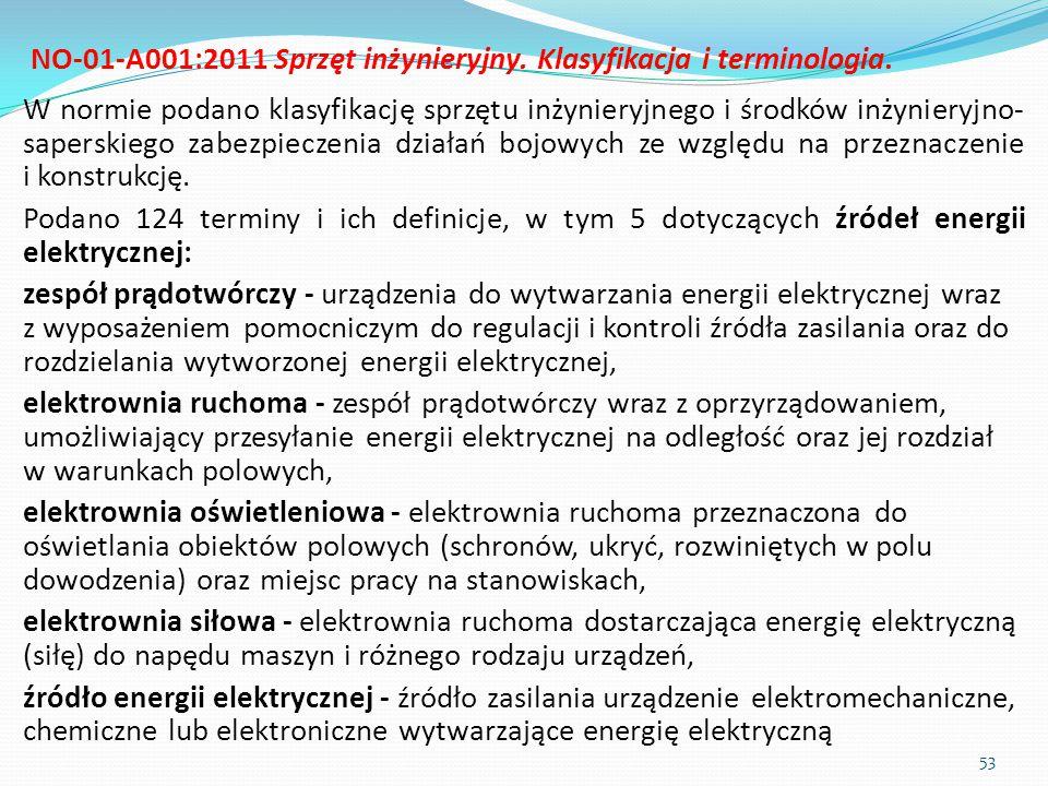 NO-01-A001:2011 Sprzęt inżynieryjny. Klasyfikacja i terminologia.