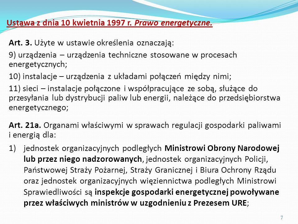 Ustawa z dnia 10 kwietnia 1997 r. Prawo energetyczne.