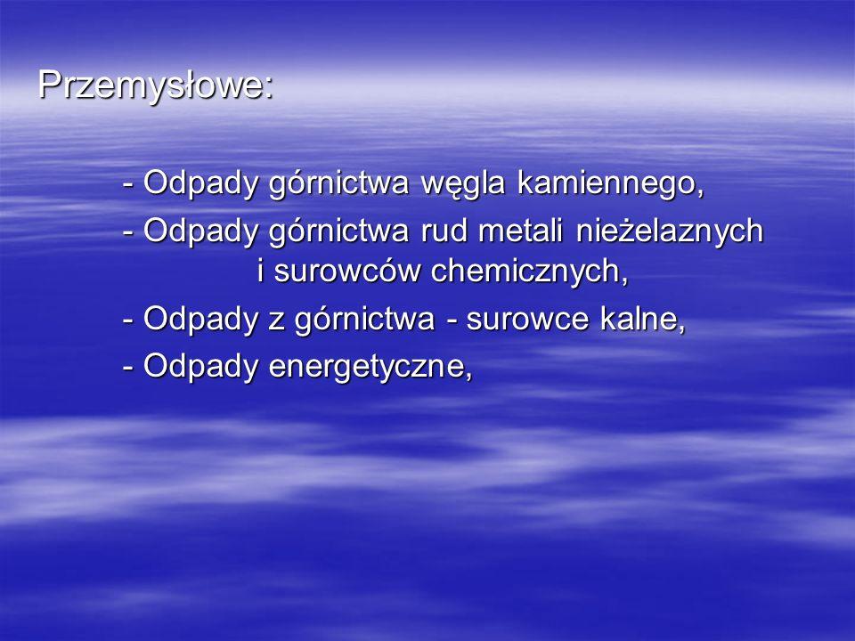 - Odpady górnictwa rud metali nieżelaznych i surowców chemicznych,