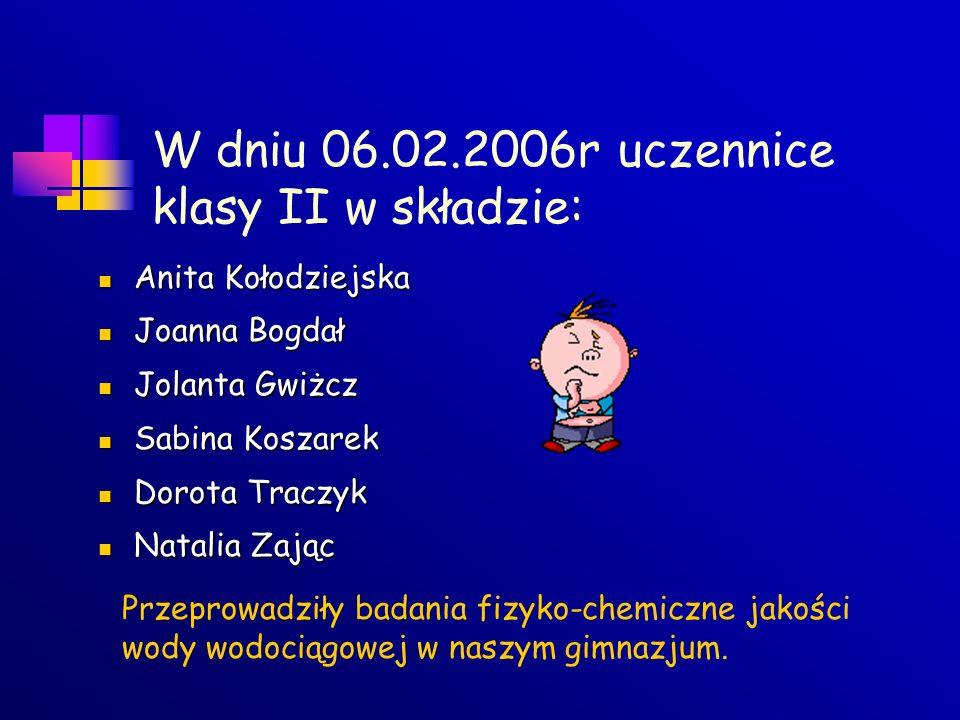 W dniu 06.02.2006r uczennice klasy II w składzie:
