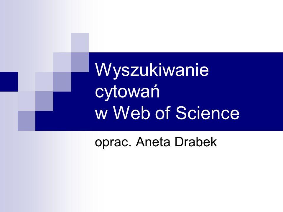 Wyszukiwanie cytowań w Web of Science