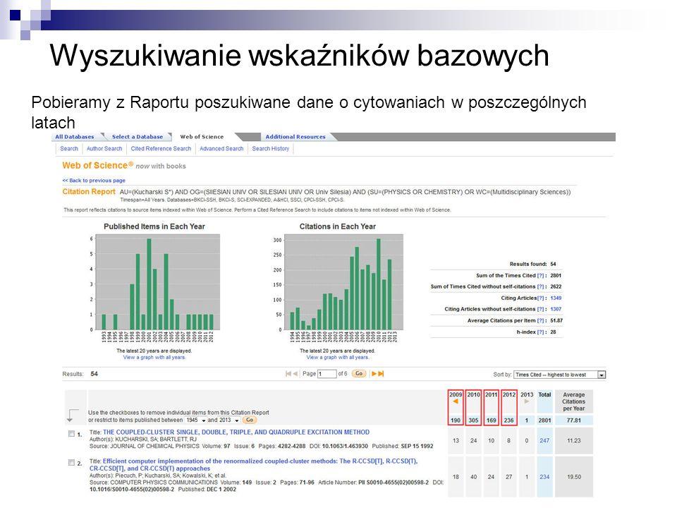 Wyszukiwanie wskaźników bazowych
