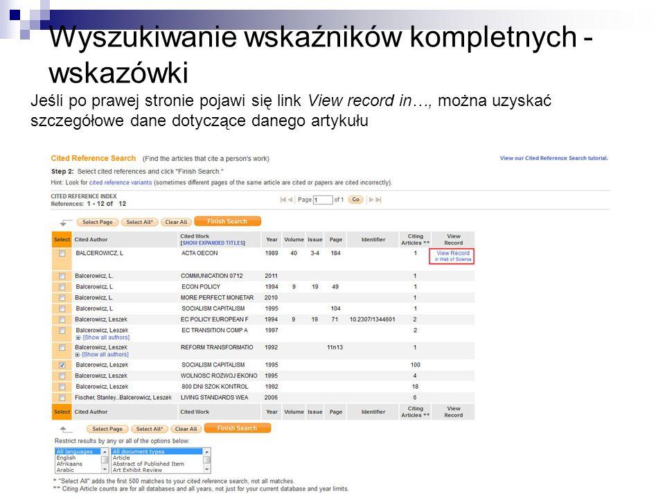 Wyszukiwanie wskaźników kompletnych - wskazówki