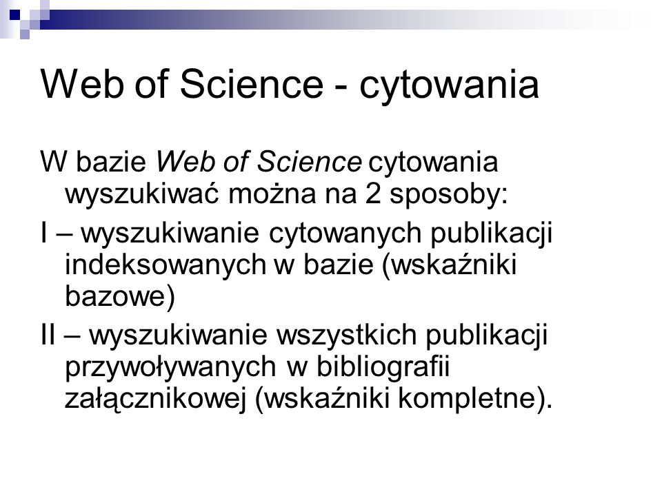 Web of Science - cytowania