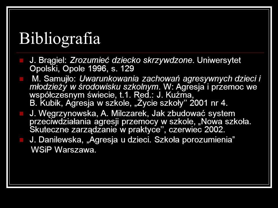 BibliografiaJ. Brągiel: Zrozumieć dziecko skrzywdzone. Uniwersytet Opolski, Opole 1996, s. 129.