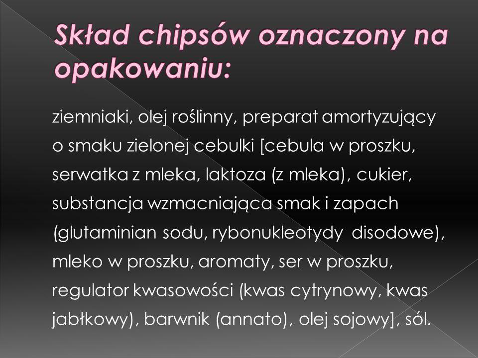 Skład chipsów oznaczony na opakowaniu: