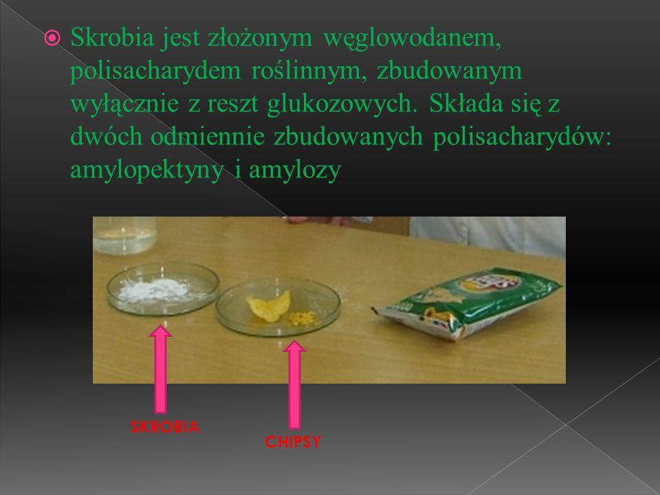Skrobia jest złożonym węglowodanem, polisacharydem roślinnym, zbudowanym wyłącznie z reszt glukozowych. Składa się z dwóch odmiennie zbudowanych polisacharydów: amylopektyny i amylozy