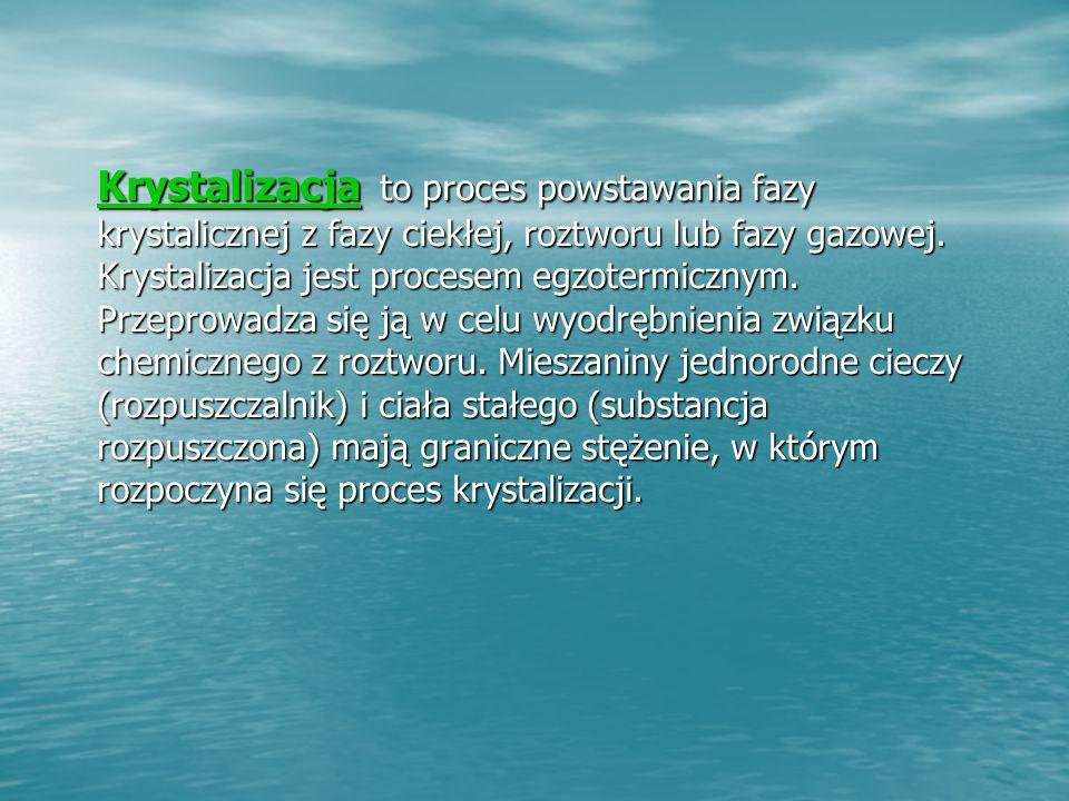 Krystalizacja to proces powstawania fazy krystalicznej z fazy ciekłej, roztworu lub fazy gazowej.