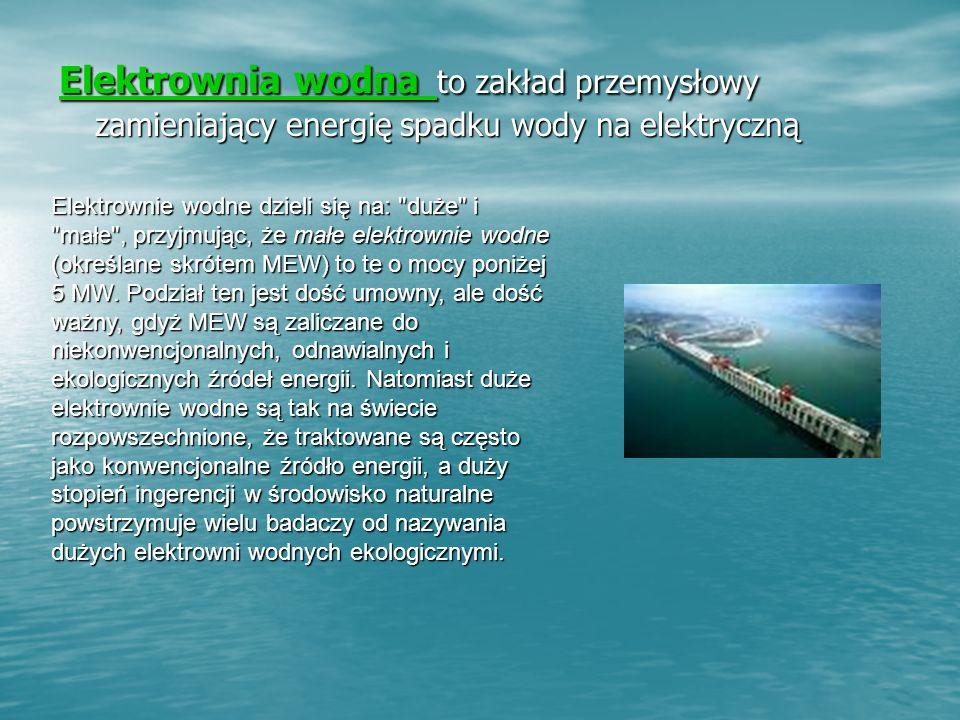 Elektrownia wodna to zakład przemysłowy zamieniający energię spadku wody na elektryczną