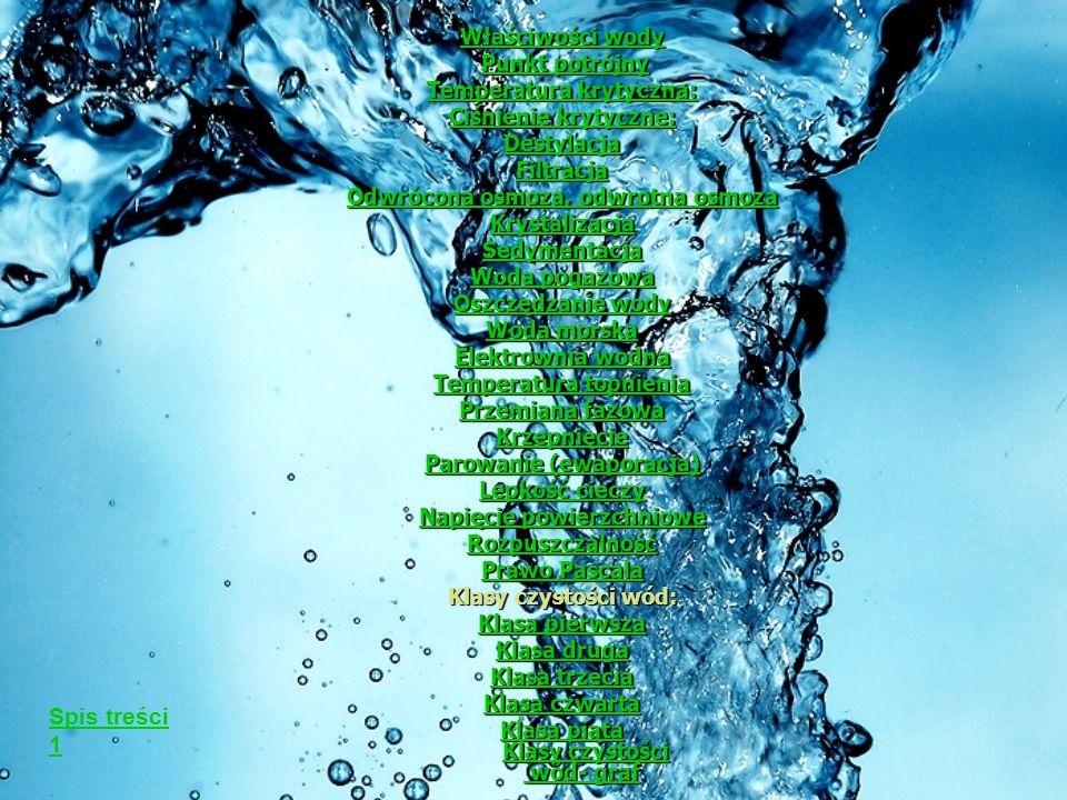 Spis treści 1 Właściwości wody Punkt potrójny Temperatura krytyczna: