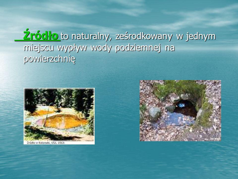 Źródło to naturalny, ześrodkowany w jednym miejscu wypływ wody podziemnej na powierzchnię