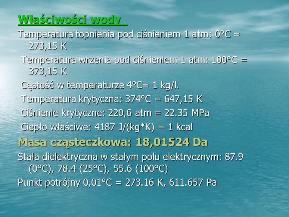 Właściwości wody Masa cząsteczkowa: 18,01524 Da