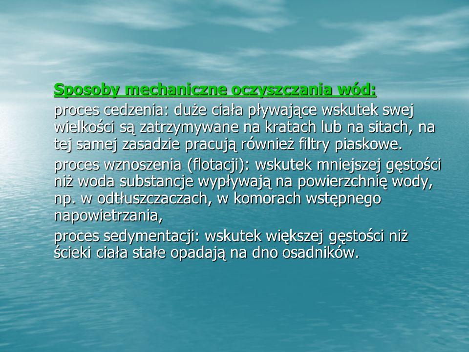 Sposoby mechaniczne oczyszczania wód: