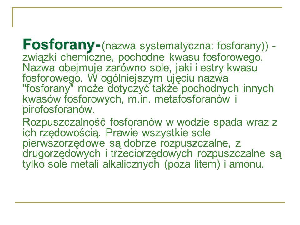 Fosforany- (nazwa systematyczna: fosforany)) - związki chemiczne, pochodne kwasu fosforowego. Nazwa obejmuje zarówno sole, jaki i estry kwasu fosforowego. W ogólniejszym ujęciu nazwa fosforany może dotyczyć także pochodnych innych kwasów fosforowych, m.in. metafosforanów i pirofosforanów.